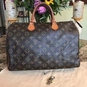 Auth Louis Vuitton Monogram Speedy 30 & Bag, Lock